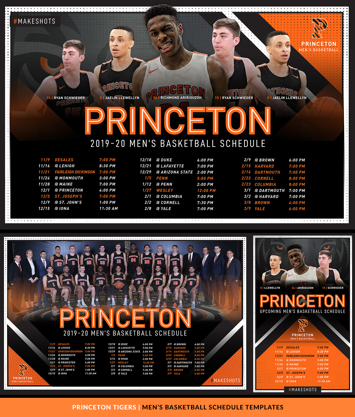 Princeton Tigers Athletic Brand Templates
